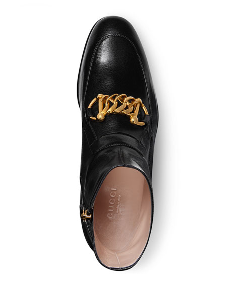 Gucci Women's Leather Horsebit Chain Boots