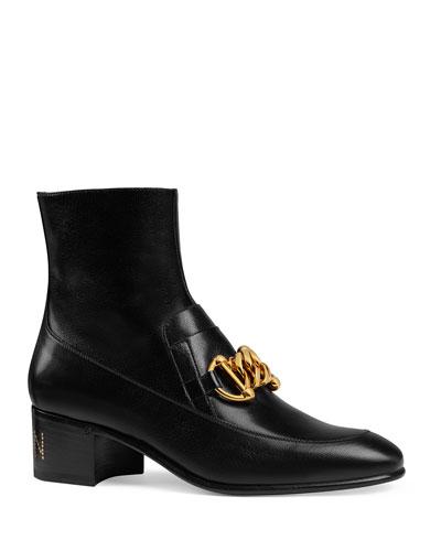 Women's Leather Horsebit Chain Boots