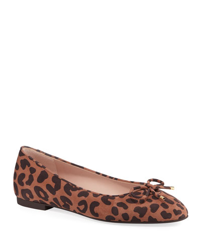 Gabby Cheetah-Print Suede Ballerina Flats