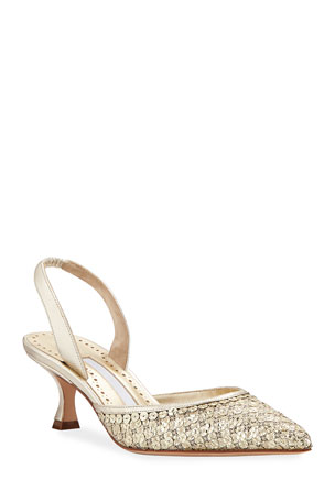 Manolo Blahnik Carolmour Sequined Metallic Slingback Pumps