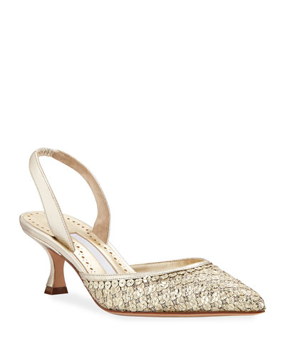 Carolmour Sequined Metallic Slingback Pumps
