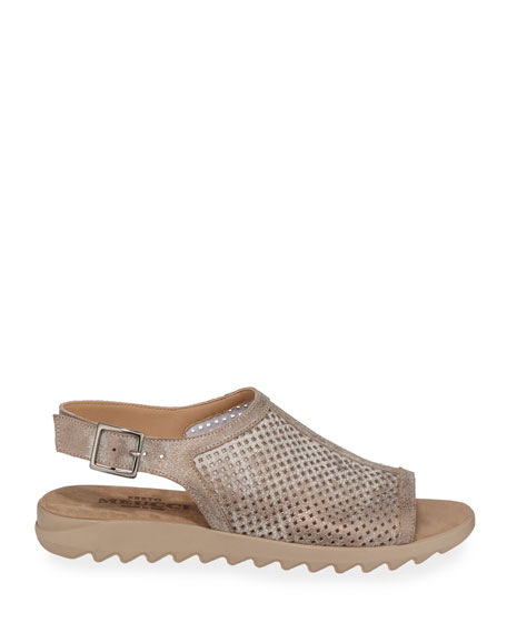 Sesto Meucci Tracy Perforated Metallic Flat Sandals
