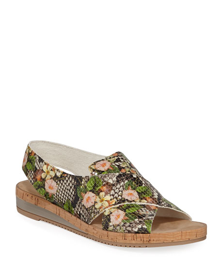 Sesto Meucci Sabita Floral Snake-Print Sandals