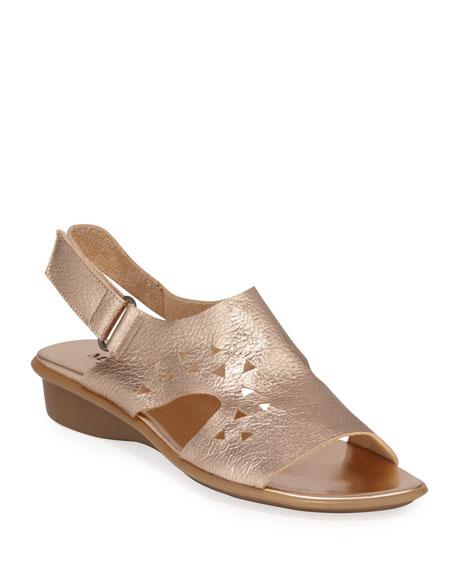 Sesto Meucci Eve Metallic Cutout Demi-Wedge Sandals