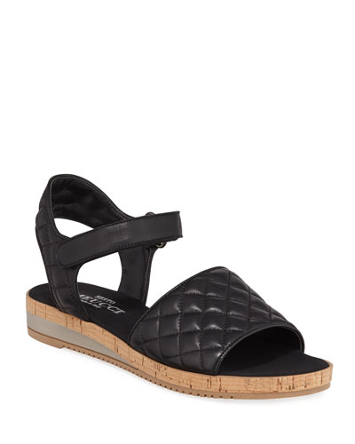 Sela Quilted Leather Flat Sandals  Black