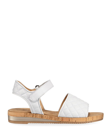 Sesto Meucci Sela Quilted Leather Flat Sandals, White