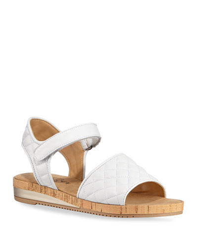 Sela Quilted Leather Flat Sandals  White