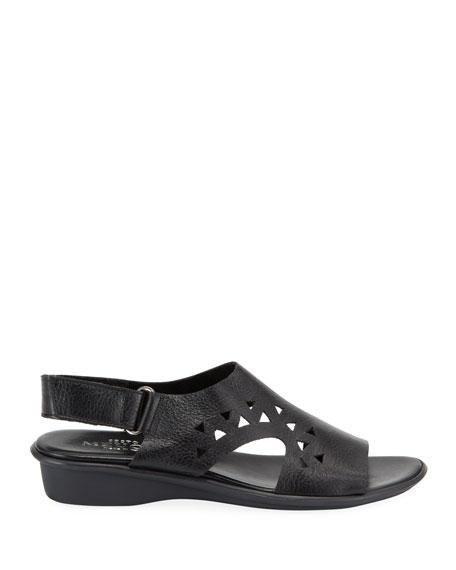 Sesto Meucci Eve Cutout Leather Demi-Wedge Sandals