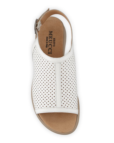 Sesto Meucci Tracy Perforated Leather Flat Sandals