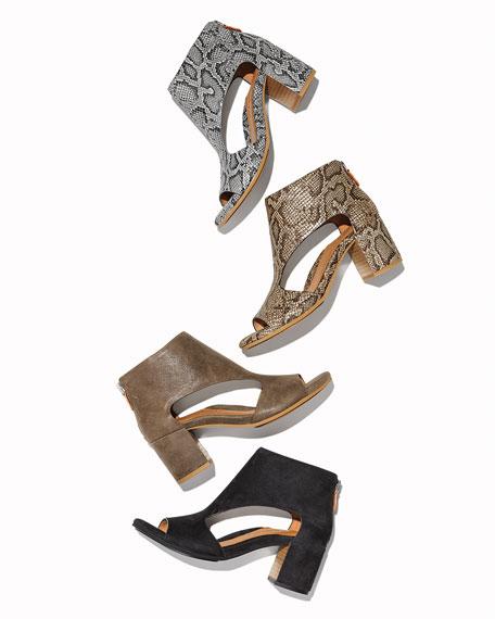 Gentle Souls Charlene Cutout Suede Zip Sandals