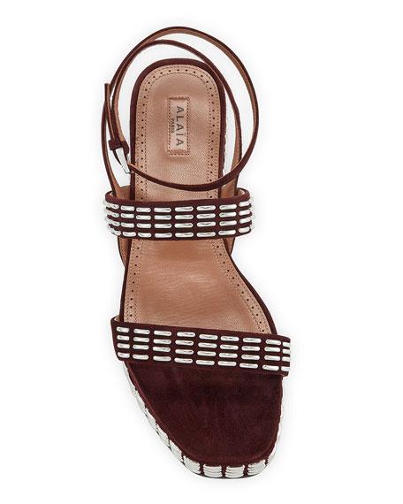 ALAIA Suede Platform Ankle-Wrap Sandals