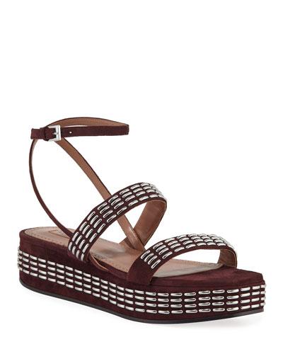 Suede Platform Ankle-Wrap Sandals