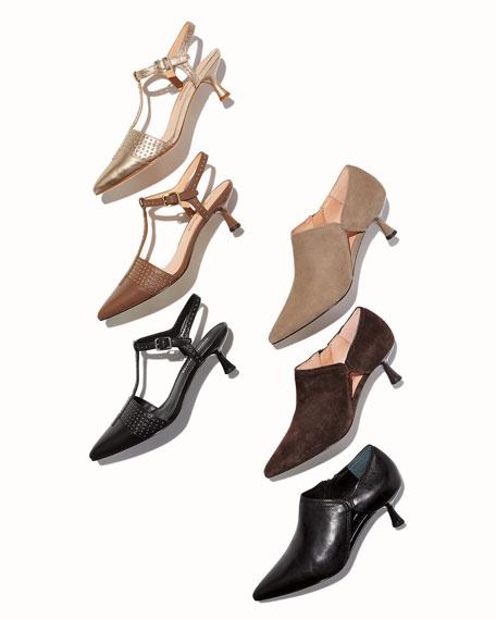 Donald J Pliner Balou Leather Kitten-Heel Booties