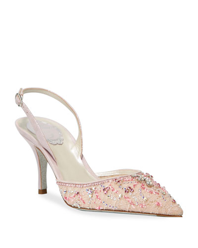 Beaded Lace Mid-Heel Pumps