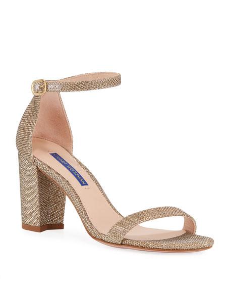 Stuart Weitzman Nearlynude Glittered Block-Heel Sandals