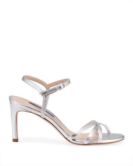 Stuart Weitzman Starla Metallic Leather Mid-Heel Sandals