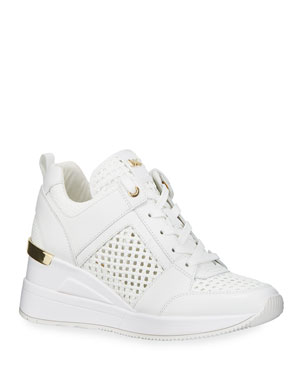 MICHAEL Michael Kors Georgie Woven Lace-Up Wedge Sneakers