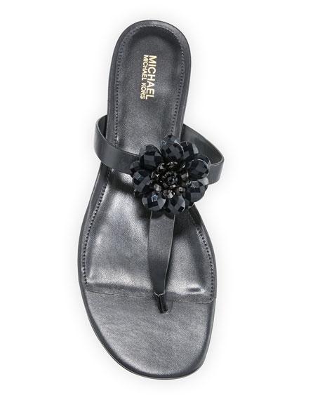 MICHAEL Michael Kors Dalia Leather T-Strap Flower Sandals