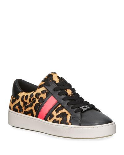 Irving Stripe Leopard Calf Hair Sneakers