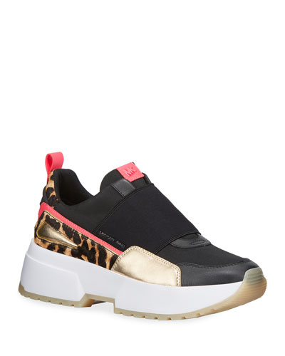 Cosmo Leopard Calf Hair Wedge Sneakers