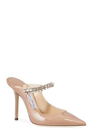 Jimmy Choo Bing Patent Crystal-Strap Pumps