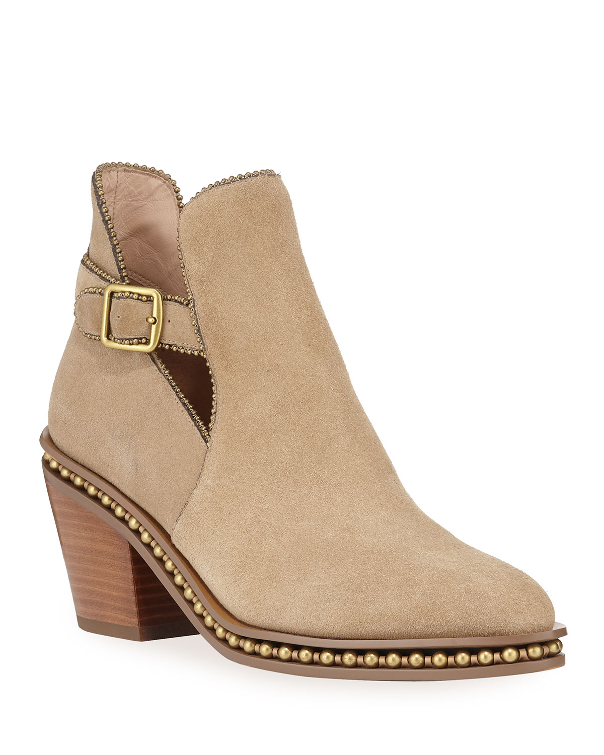Pipa Suede Bead Chain Western Booties by Coach