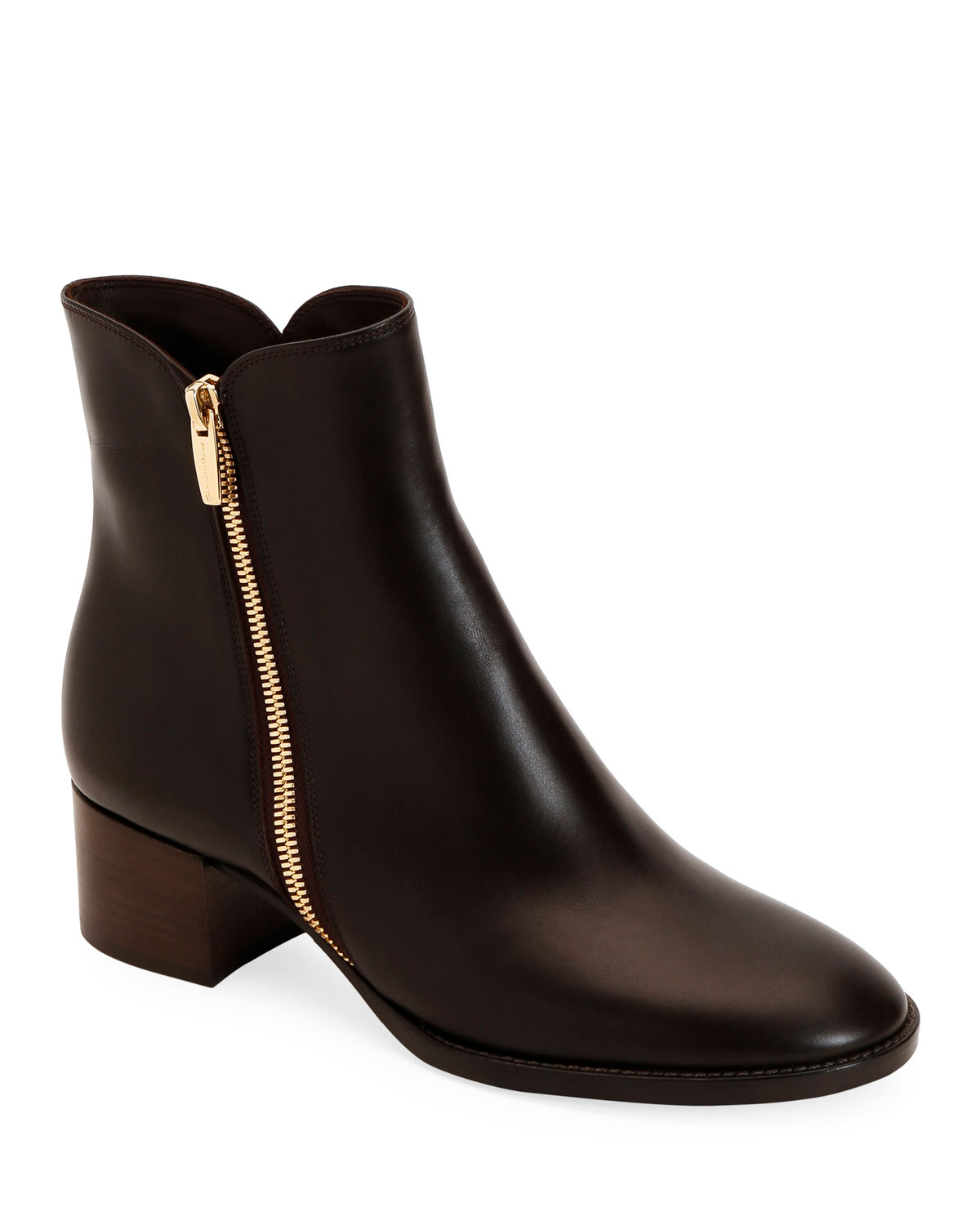 Low Heel Smooth Leather Zip Booties by Gianvito Rossi