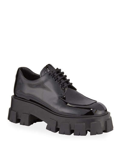 Chunky Patent Lace-Up Shoes