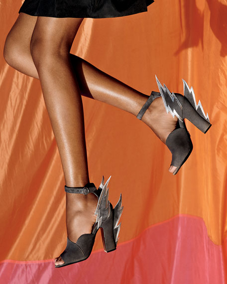 Prada Suede Lightning Bolt Ankle-Wrap Sandals