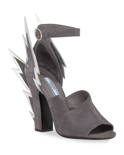 Suede Lightning Bolt Ankle-Wrap Sandals