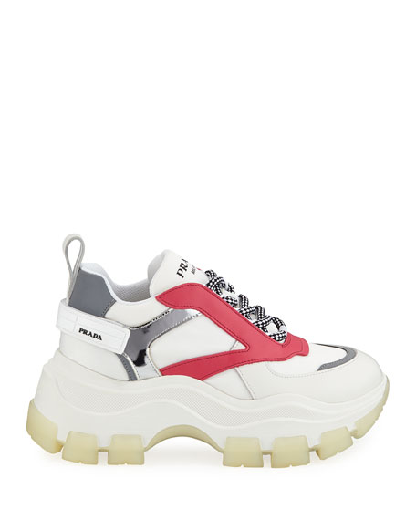 Prada Leather Flatform Lug-Sole Trainer Sneakers
