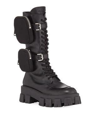 eaa3d20e0c Prada 55mm Lace-Up Zip Pouch Platform Moto Boots