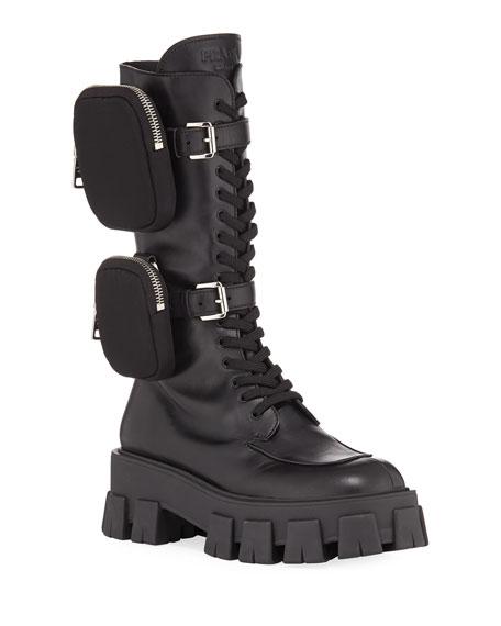 Prada 55mm Lace-Up Zip Pouch Platform Moto Boots