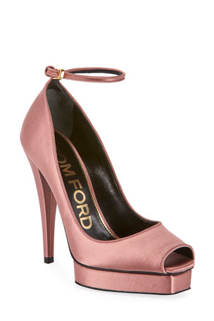 TOM FORD Peep-Toe Platform Ankle-Wrap Pumps, Pink
