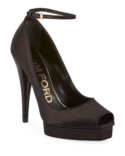 Peep-Toe Platform Ankle-Wrap Pumps  Black