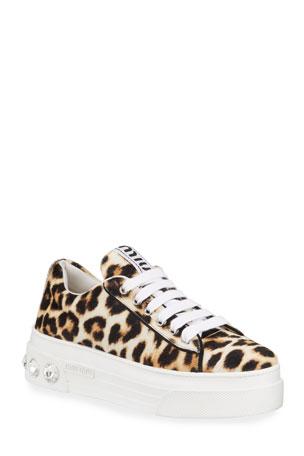 Miu Miu Cheetah-Print Platform Sneakers