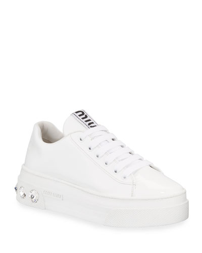 Patent Leather Sneakers with Crystal Heel