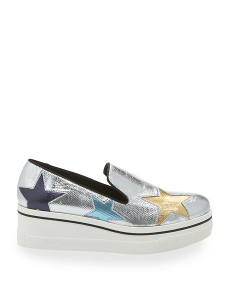 Stella McCartney Binx Metallic Stars Platform Sneakers