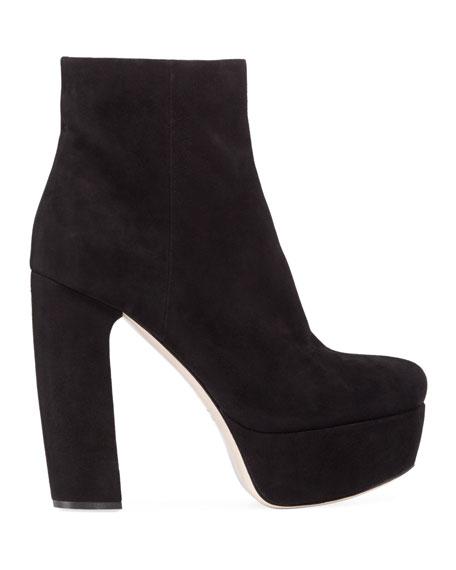 Miu Miu Suede Block-Heel Platform Booties