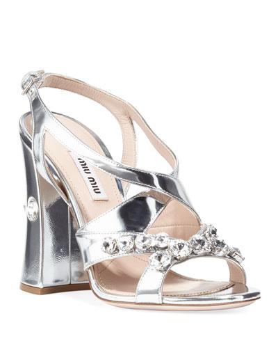 Metallic Crystal Block-Heel Sandals