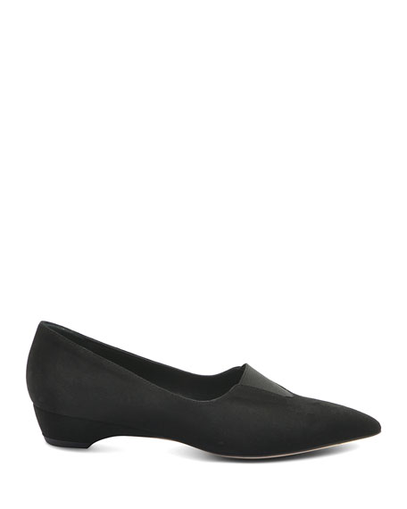 Bettye Muller Concept Suede Low-Wedge Loafers