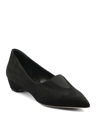Suede Low-Wedge Loafers