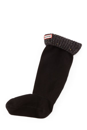 Hunter Boot Granite Fleck Boot Sock, Black