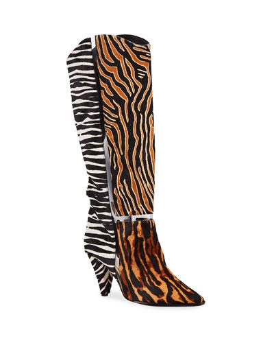 Dora Mixed Animal-Print Knee Boots