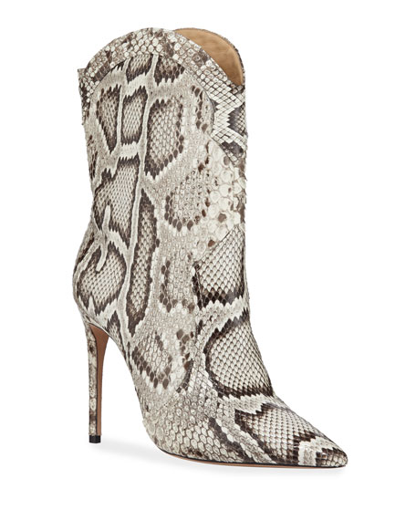 Alexandre Birman Esther Exotic Python Pointed Boots