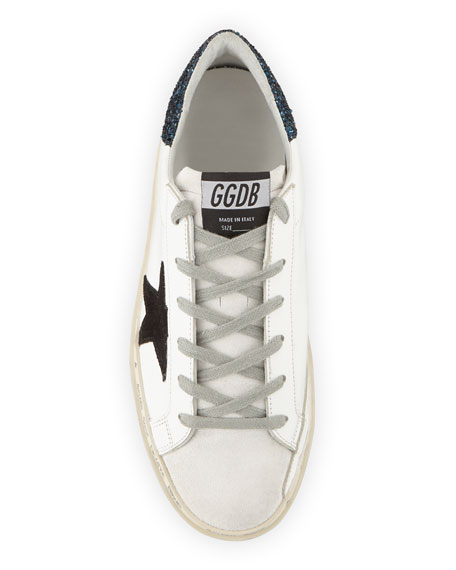 Golden Goose Hi Star Leather Sneakers with Glitter Back
