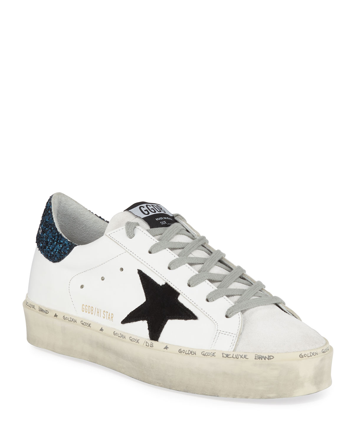 cb9650dca68e6 Golden Goose Hi Star Leather Sneakers with Glitter Back | Neiman Marcus