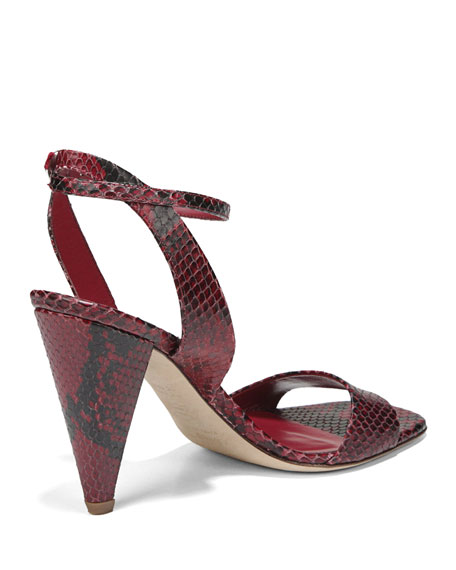 Via Spiga Ria Snake-Print Leather Sandals