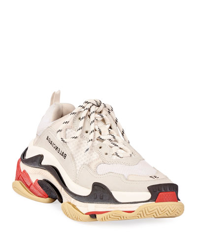 Triple S Mesh & Leather Trainer Sneakers