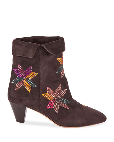 Image 2 of 4: Isabel Marant Dyna Embroidered Suede Ankle Boots
